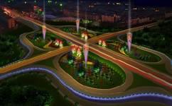 北京市丰台区三环路沿线公园夜景照明